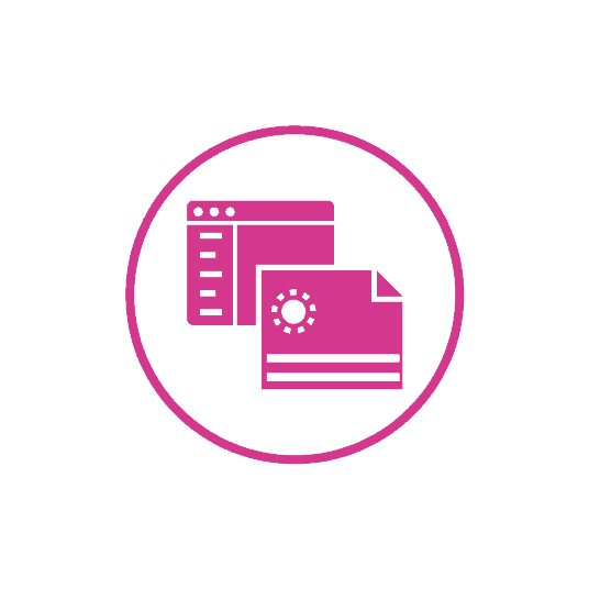 Magenta Icon of a piece of paper and computer dialog box representing the accuracy Duplicators has when printing for their clients