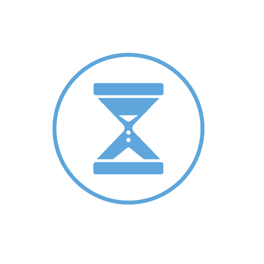 Icon for Time Management, one of the key pillars Duplicators sticks too, it shows a cyan hourglass